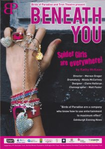 A poster from 'Beneath You'.  It shows a hand with lots of bracelets, rings and chains on.