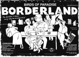 A poster for 'Borderland'. It consists of an abstract drawing of a dinner party scene.