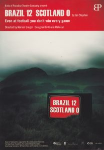 A poster from 'Brazil 12 Scotland 0' . It shows a TV displaying the shows title on a grassy mountain.