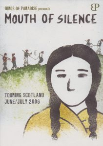 A poster for 'Mouth of Silence'. It shows the painted silhouette of a woman with braided hair and people walking over a hill in the background.