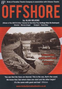 A poster for 'Offshore'.  Its shows boats going down a narrow river.