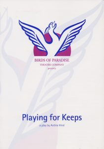 A poster for 'Playing for Keeps'. Its is plain white apart from a drawing of a winged beast.