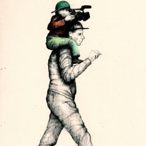 A drawing of a man in a grey suit and hat with a child sat on his shoulders. The child is wearing a red top and with blue trousers and a blue hat. He is holding a big video camera