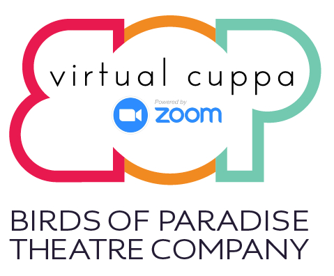 BOP logo, with the Zoom video client logo and the title, 'virtual cuppa'