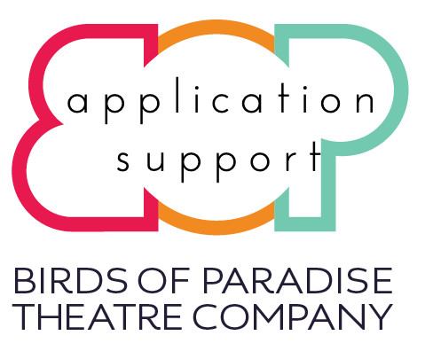 """Birds of Paradise logo - a large B O P in capital letters - with the words 'application support"""" written in the middle."""