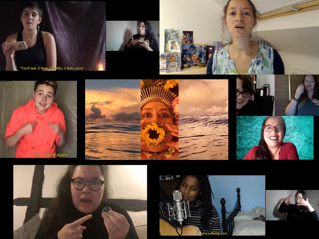 "Collage of performances and films from 'A Wake'. Left-Right, Top Row: Emilia Beatriz reads from their phone, they are Puerto Rican American with short brown hair and glittery lipstick, a caption reads ""You'll see, it feels beautiful, it feels good.""; Emilia is being interpreted into British Sign Language by Lisa Li, a British Chinese woman with shoulder-length black hair and glasses; Jeda Pearl reads a poem, she has a patterned top and long, brown curly-frizzy hair, bronze-brown skin, brown eyes and no makeup, a caption reads ""Hold fast"". Left-Right, Middle Row: Brooklyn Melvin performs sign-song with a pleasant expressions, they are white with short brown hair with shaved sides and wear an orange hoodie, a caption says 'to dance again'; a still from Raman Mundair's short film, she is adorned as a Goddess with yellow flowers, a crown, and Punjabi tribal folk markings, to her left and right are different ocean horizons; Etzali Hernández, a nonbinary latinx queer femme with brown eyes, hoop nose piercings, long black hair and glasses, they sit smiling in front of a bright turquoise background; Etzali is in conversation with San Alland, a smiling white person with short brown hair, glasses and a red and black striped tie, interpreted into BSL by an also-smiling K.Yvonne Strain who's a white woman with wavy shoulder-length brown hair. Left-Right, Bottom Row: Bea Webster performs Hamlet, Bea is Scottish-Thai with straight shoulder-length dark hair and brown eyes, she wears glasses and holds a tiny toy skull she's pointing at with a shocked expression; Lake Montgomery plays a song on her guitar into a large mic, Lake is African-American with chest-length finger-thick dreadlocks, brown eyes and no makeup, a caption reads ""Heal a suffering mind""; Lake's lyrics are being interpreted into BSL by Lisa Li, described above, whose hands move over her head."
