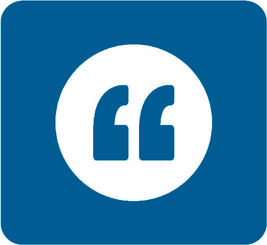 Large graphic of a quotation mark in dark blue